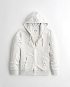 Hollister Must-Have Terry Full-Zip Hoodie, LIGHT H