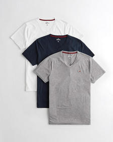 Hollister Must-Have V-Neck T-Shirt 3-Pack, WHITE -