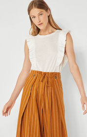 BCBG Sleeveless Ruffle Top
