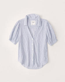Crinkle Cotton-Blend Button-Up Shirt, WHITE STRIPE