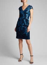 Carmen Marc Valvo Infusion Novelty Sequin Floral E