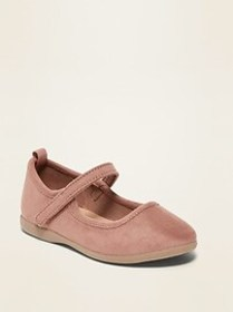 Faux-Suede Mary-Jane Flats for Toddler Girls