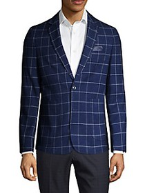 NHP Extra Slim-Fit Windowpane-Print Jacket