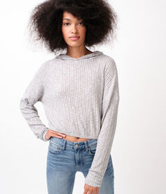 Aeropostale Fuzzy Ribbed Dolman Pullover Hoodie