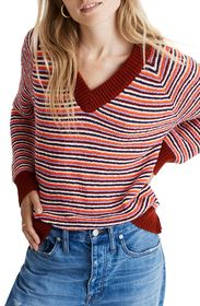 Madewell Arden Striped V-Neck Pullover Sweater (Re