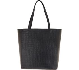 """As Is"" Martha Stewart Croco Embossed Leather Tote"