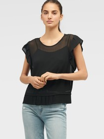 Donna Karan SHORT SLEEVE TOP WITH RUFFLE SLEEVE AN