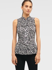 Donna Karan SLEEVELESS PLEATED TOP WITH TIE NECK