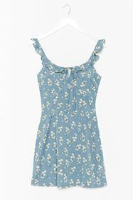 Nasty Gal Blue I'll Be Bud to You Floral Mini Dres