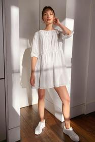 Nasty Gal White brodierie tie back mini smock dres