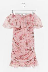 Nasty Gal Pink Diamonds and Frills Floral Midi Dre