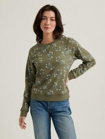 Lucky Brand Printed Crew Neck Sweatshirt