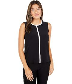 Anne Klein Piped Crew Neck Tee
