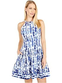 Vince Camuto Printed Crepe Halter Fit-and-Flare wi