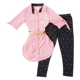 Girls (7-16) One Step Up Belted Tunic & Foil Heart