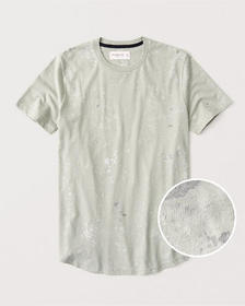 Paint Splatter Curved Hem Tee, LIGHT GREEN