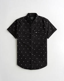 Hollister Stretch Oxford Slim Fit Shirt, BLACK PAT