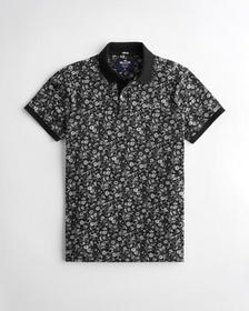 Hollister Stretch Patterned Polo, BLACK PATTERN
