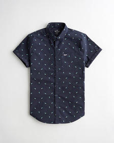 Hollister Stretch Poplin Slim Fit Shirt, NAVY PATT