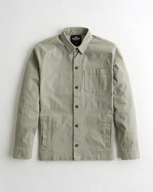 Hollister Stretch Utility Shirt Jacket, LIGHT OLIV