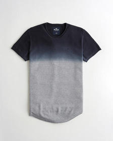 Hollister Textured Knit T-Shirt, NAVY TO GREY OMBR