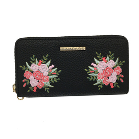 Womens Rampage Floral Embroidered Wallet - Black