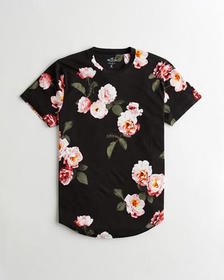 Hollister Floral Curved Hem T-Shirt, BLACK WITH LI
