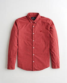 Hollister Stretch Poplin Slim Fit Shirt, RED MICRO