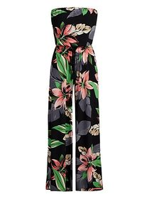 Floral Print Strapless Jumpsuit - New York & Compa