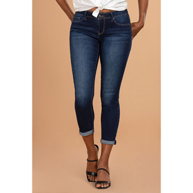 Womens Royalty Basic Roll Cuff Ankle Jeans