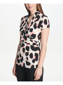 DKNY Womens Black Printed Short Sleeve V Neck Form