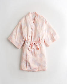Hollister Belted Satin Robe, LIGHT PINK PRINT