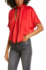 alice + olivia Livvy Tie Neck Wrap Front Stretch S