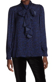 alice + olivia Tammy Removable Tie Long Sleeve Blo