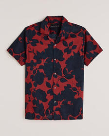 Short-Sleeve Camp Collar Button-Up Shirt, RED FLOR