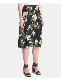 DKNY Womens Black Floral Midi Accordion Pleat Skir