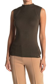 T Tahari Mock Neck Ribbed Sleeveless Top