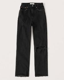 90s Ultra High Rise Straight Jeans, BLACK RIPPED W