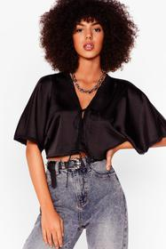 Nasty Gal Black Set the Lace Satin Cropped Blouse