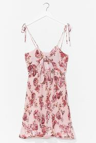 Nasty Gal Pink Shirred It Here First Floral Mini D