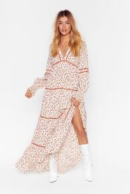 Nasty Gal Cream Plant You See Floral Maxi Dress