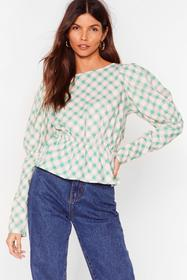 Nasty Gal Pink Checkin' Up on You Puff Sleeve Open