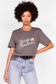 Nasty Gal Charcoal Just a Young American Graphic T