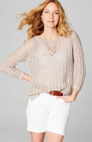Open-Stitch Side-Vent Sweater