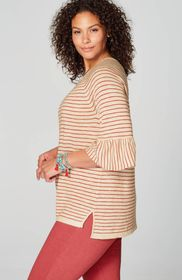 Flounced-Sleeve Relaxed Sweater
