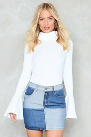 Nasty Gal White Flare to Dream Turtleneck Sweater