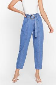 Nasty Gal Blue Oh You Charmer Belted Tapered Jeans