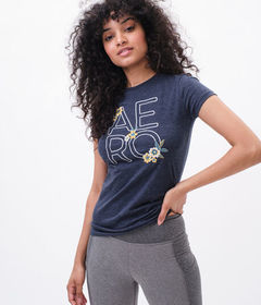 Aeropostale Embroidered Aero Floral Graphic Tee