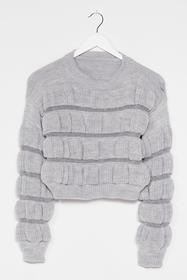 Nasty Gal Silver Tell Knit How Knit Is Metallic Sw