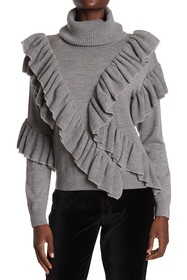 alice + olivia Libbie Ruffled Wool Blend Pullover